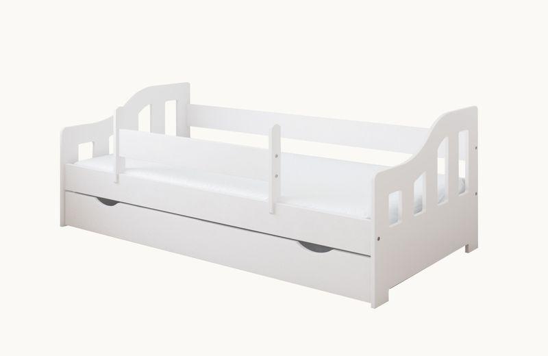 łóżko Lucky 180 X 80 Szuflada Ruchoma Barierka Ochronna Materac
