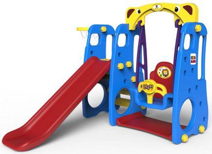 Plac zabaw 3w1 Zjeżdżalnia + Huśtawka + Koszykówka + Ścianka wspinaczkowa Kolor - Niebieski