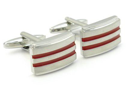 Srebrne spinki do mankietów z czerwonymi paskami  A147