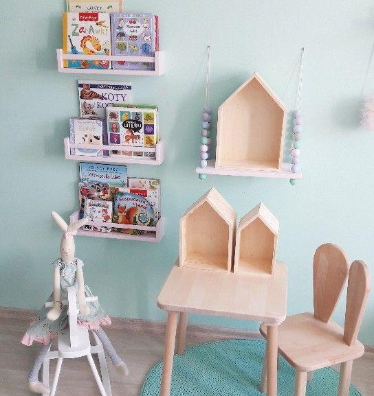 Drewniana Półka Na Książki Do Pokoju Dziecięcego Kolor Biały