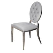 Krzesło Ludwik glamour Silver pikowane guziki