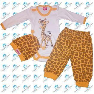 NOWY Komplet niemowlęcy body spodenki czapeczka N043 ŻYRAFKA 68