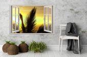 Obraz na płótnie - Canvas, okno - palmy 120x80 zdjęcie 2