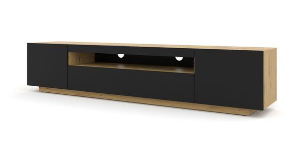 Szafka RTV 200 cm stojąca dąb artisan czarny