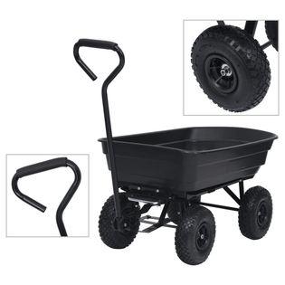 Ogrodowy wózek ręczny z wywrotką 300 kg 75 L czarny VidaXL
