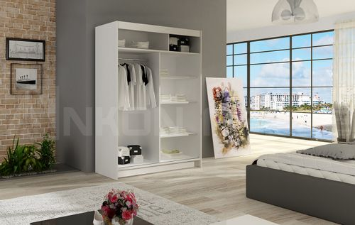 Szafa przesuwna Miami II z lustrem 120cm - pojemna garderoba - CZARNY na Arena.pl