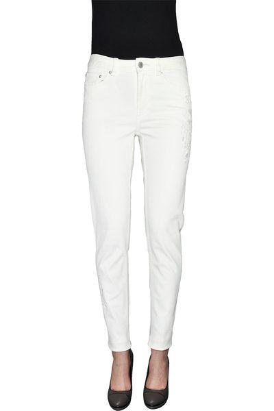 M&S Białe Spodnie, Hafty, Regular 34 XS