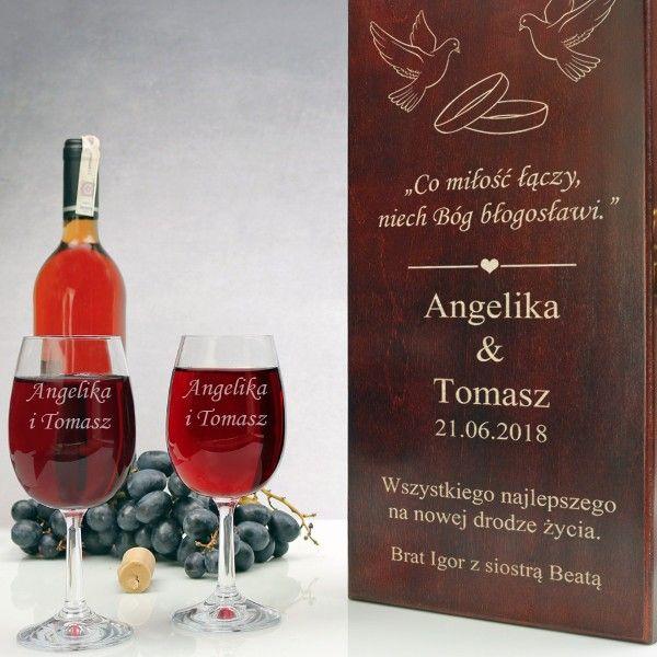 Drewniana skrzynka z kieliszkami wino GRAWER ŚLUB na Arena.pl