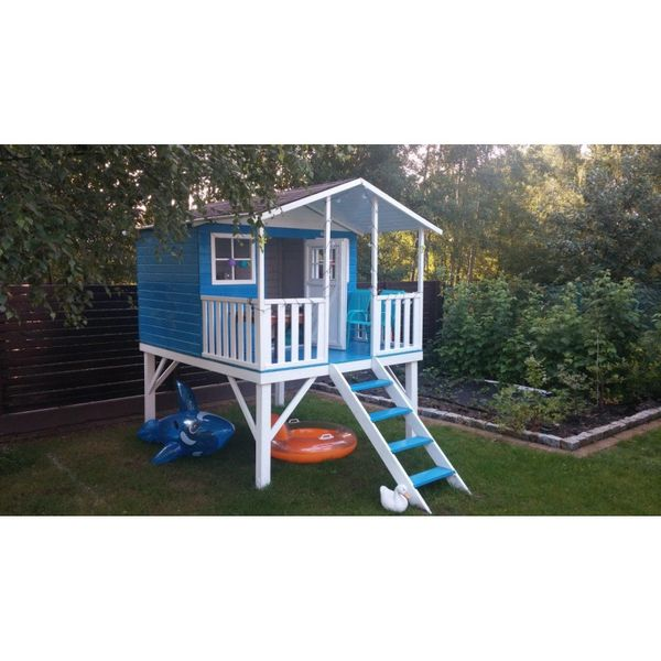Domek ogrodowy dla dzieci 4IQ Gucio drewniany ze ślizgiem i tarasem zdjęcie 5