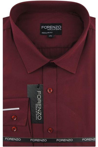 Duża Koszula Męska Forenzo gładka bordowa na długi rękaw  pzsFm