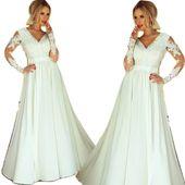 Zjawiskowa długa biała suknia sukienka koronkowa ślub wesele zdjęcie 1