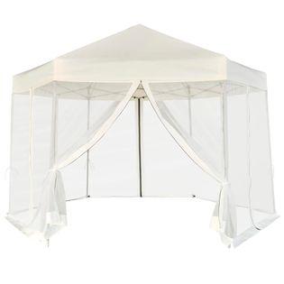 Rozkładany namiot ogrodowy, 6 ścianek, 3,6x3,1m, śmietankowy