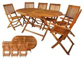 Meble Tarasowe Ogrodowe Drewniane Składane stół + 6 krzeseł 5360