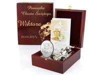 ZESTAW srebrny obrazek skarbonka szkatułka GRAWER