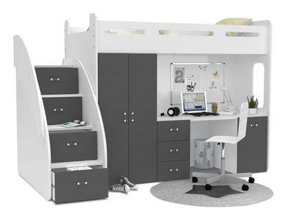 Łóżko piętrowe ZUZIA PLUS materace schodki biurko - szare