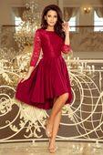Wieczorowa sukienka z koronką - Bordowy XL