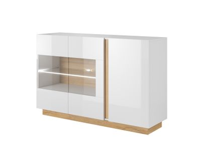 Komoda biała 138 cm do salonu połysk półki komody nowoczesne DOSTAWA