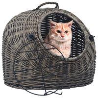 Transporter dla kota, szary, 45x35x35 cm, naturalna wiklina