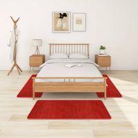 Lumarko Puszyste dywaniki do sypialni, długie włosie, 3 szt., czerwone!
