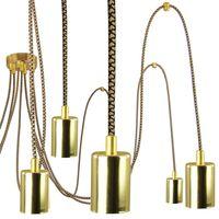 Lampa Wisząca Pająk 7 Złota Ze Złoto Czarnym Przewodem E27