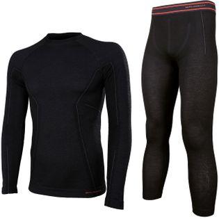 Bielizna termoaktywna BRUBECK ACTIVE WOOL komplet koszulka+spodnie czarny XL (LS12820+LE11710)