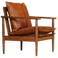 Fotel Z Prawdziwej Skóry I Drewna Akacjowego, Brązowy