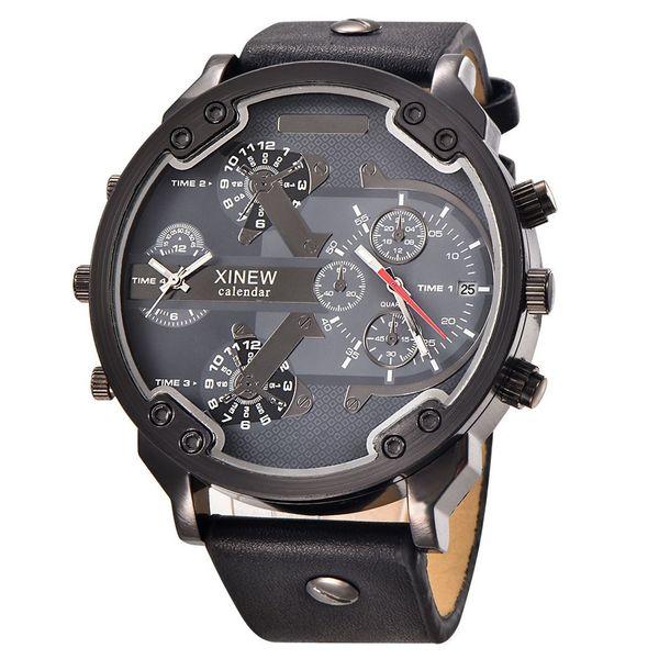 Zaawansowane Zegarek męski, dwa czasy, datownik, 3 kolory, duży, wodoszczelny TD14