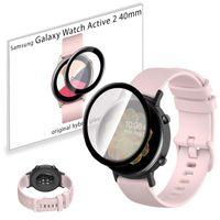 Pasek sportowy opaska i szkło 3D do Samsung Galaxy Watch Active 2 40mm jasnoróżowy