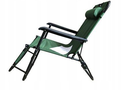 Leżak Ogrodowy Fotel Plażowy Składany Rozkładany - Zielony