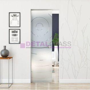 drzwi szklane przesuwne chowane w ścianę skrzydło wzór matowy W4