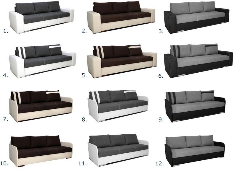 Ogromny Kanapa AMAR rozkładana sofa ekoskóra biała wersalka szara łóżko MU68