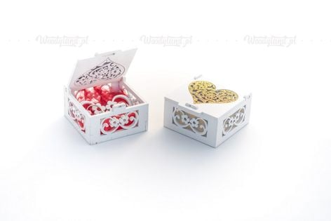 Pudełko na obrączki ze złotym motywem - brokatowe serce