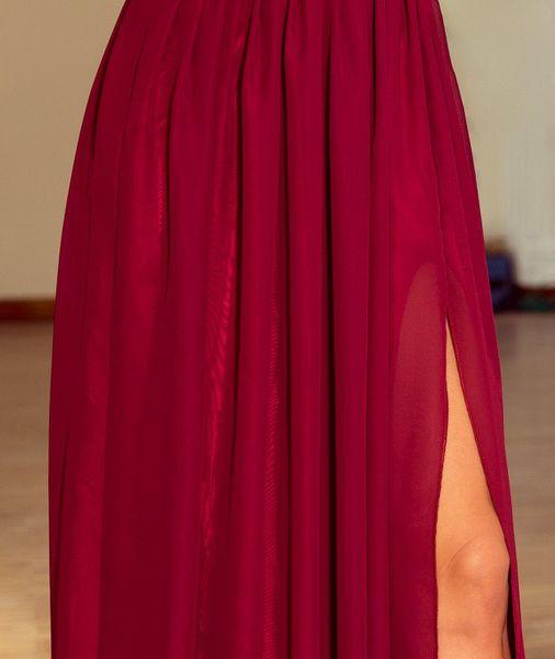 Sukienka Maxi Na Przyjęcie Wesele Bal Bordowa Na Ramiączka 166-3 L 40 zdjęcie 15