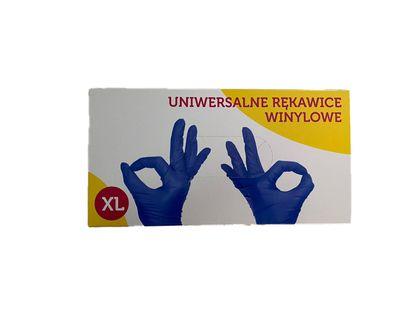 Rękawiczki winylowe niebieskie XL opakowanie 100 sztuk