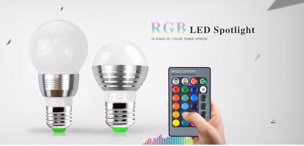Żarówka diodowa LED RGB 7W/E27 16 KOLORÓW + PILOT