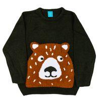 PEPCO Sweter chłopięcy zwierzak 116 zielony