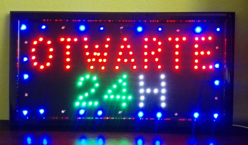 TABLICA LED NEON PANEL REKLAMA OTWARTE 24H OPEN zdjęcie 1