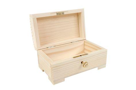 Drewniana szkatułka zamykana na kluczyk - 15 cm