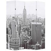 Składany Parawan, 160X170 Cm, Nowy Jork Za Dnia, Czarno-Biały