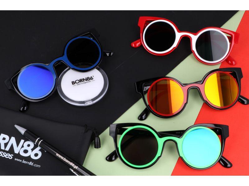 czerwone okulary cat eye lustra zdjęcie 5