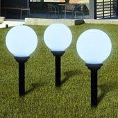 Zewnętrzne Lampy Solarne Led W Kształcie Kuli, 20 Cm, 3 Szt.