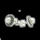 ASTRID Srebrne kolczyki z perła i markazytami okrągłe małe sztyft zdjęcie 2