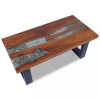 Stolik kawowy z drewna tekowego i żywicy, 100x50 cm