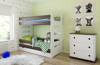 Łóżko piętrowe MATI 180x80 + 2 materace piankowe + pojemna szuflada