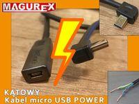 Przedłużacz Mini USB POWER KĄTOWY 4 warianty 1m