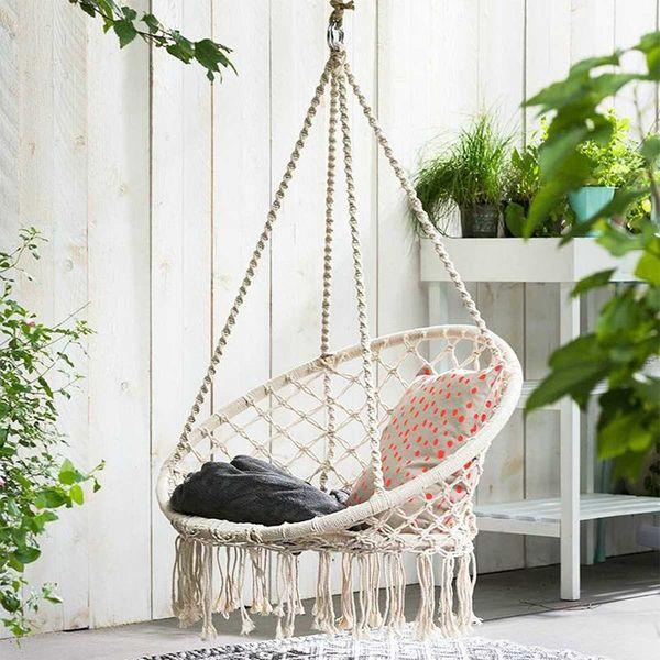 Hamak Fotel Brazylijski Krzesło Huśtawka Bujak Wiszący Biały D135 zdjęcie 6