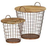 Zestaw koszy-stolików kawowych, 2 szt., drewno mango, 55x50 cm