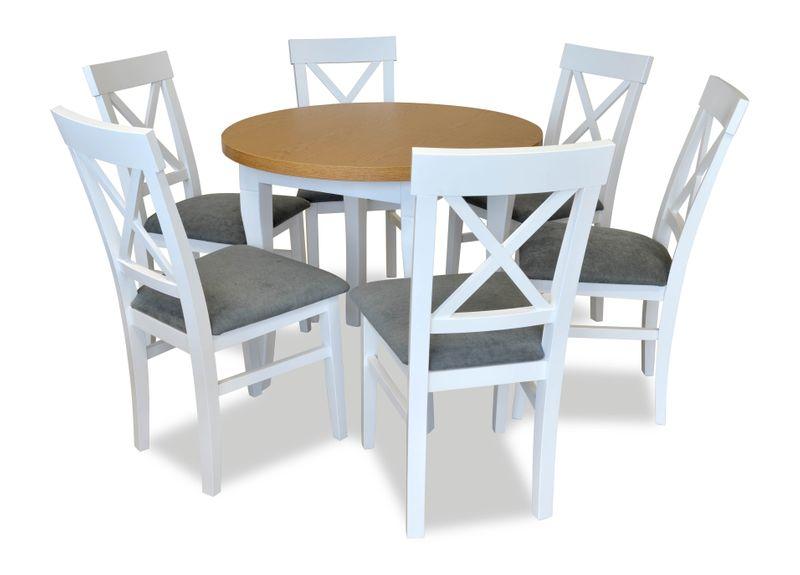 Krzesła Białe I Okrągły Stół Blat Dąb Jasny Meble Do Salonu Kuchni
