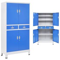 Szafa biurowa 4-drzwiowa, metal, 90x40x180 cm, szaro-niebieska