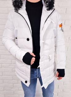 Biała męska kurtka zimowa parka M1009 - S